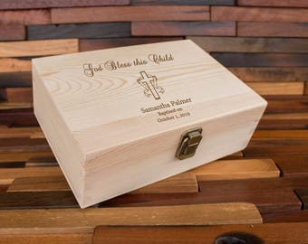 Boy First Communion Gift Memory Box, Cute Gift Idea for 1st Communion or Confirmation, Girl Gift Idea, Personalized Wood Keepsake