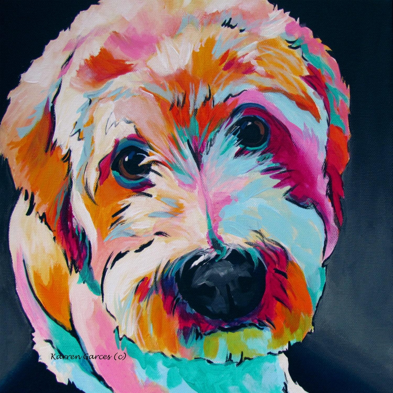 Labradoodle Wheaten Terrier Dog Art Pet Portrait Bright