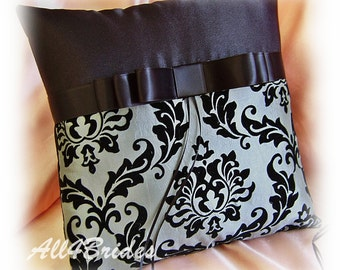 Black and gray damask wedding ring bearer pillow,wedding ring ceremony ring cushion.