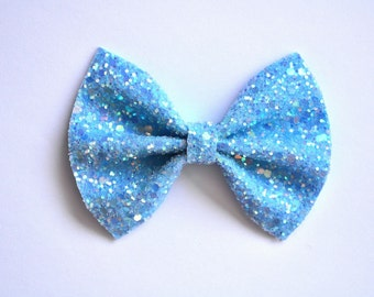 Aqua Blue Glitter Bow Adorable Photo Prop Easter Spring Summer Clip Pictures Headband for Newborn Baby Little Girl Child Adult