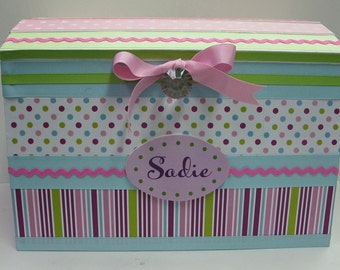 Pink Dot Treasure Storage Trunk  for Girly Stuff to coordinate with Ciro Pink Dot Bedding
