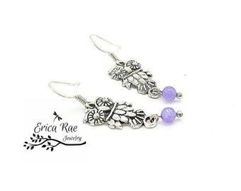 Owl charm earrings, purple jade earrings, silver earrings, hypoallergenic earrings, boho earrings, beaded earrings, owl jewelry, jewellery