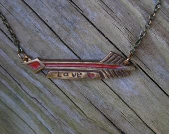 Bohemian arrow necklace, Cupid arrow charm, Tiny heart pendant, Red glass enamel, Geometric jewelry, Minimalist arrow, Love typography, Boho