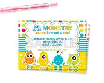 Monster Birthday Party Invitation, Little Monster Birthday Party Invitation, Monster Birthday Party, Printable Monster Birthday Party Invite