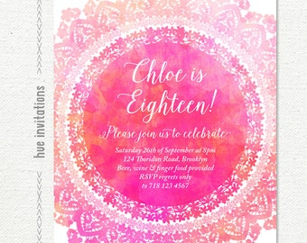 Purple space birthday party invitation girls space nebula 18th birthday invitation hot pink teen birthday party invitation watercolor lace doily girly printable filmwisefo Image collections