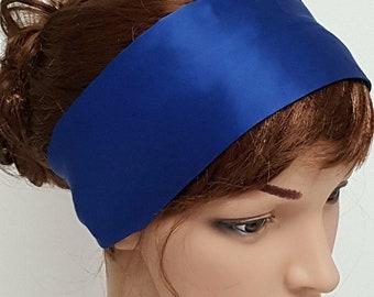Royal blue yoga headband, satin fitness headband, running headband, workout hairband, silky head ribbon