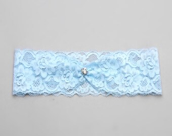 Wedding crystal garter, something blue bridal garter - style #488