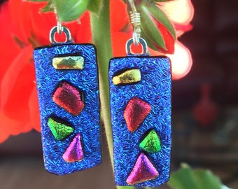 Dichroic Glass Cobalt Blue Earrings with Red, Green, Yellow, Pink,