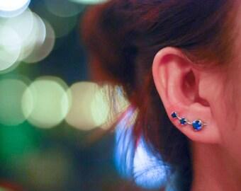 September Birthstone Blue Sapphire Ear Climbers Sterling Silver