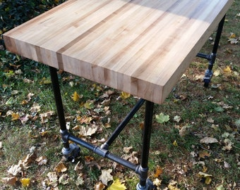 Industrial Butcher Block Island On Pipe Legs
