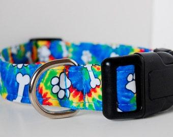 Tie Dye Adjustable Multicolor Dog Collar, Rainbow Dog Collar, Gay Pride,Dog Bone Collar,Clearance dog collar,Bright dog collar, Tie Dye