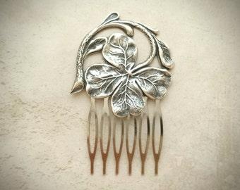 Silver Shamrock Hair Comb Four Leaf Clover Hair Comb Wedding Hair Piece Bridal Hair Accessories Irish Wedding Irish Jewelry