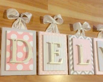 Nursery letters, Pink and Gray Nursery Letters, Personalized wooden letters, Wood letters,Hanging Wall Nursery Letters, Customized Letters
