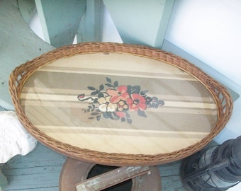 Vintage Woven Rattan Serving Tray with Glass and Fabric Insert Oval Dresser Vanity Tray