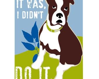 Boxer Dog Art Funny Wall Decor 5 x 7 Print I Didn't Do It