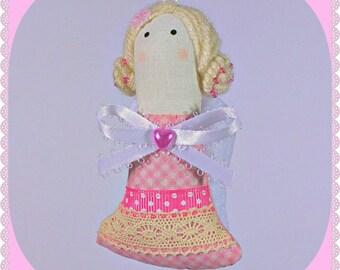Christmas Angel Ornament, Pink Christmas Ornament, Decoration, Figurine, Doll, Handmade Fabric Felt Decoration, Home Holiday