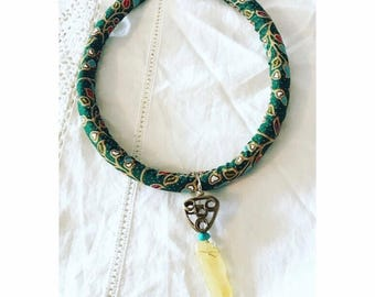 Wrapped necklace with amber snd turquoise