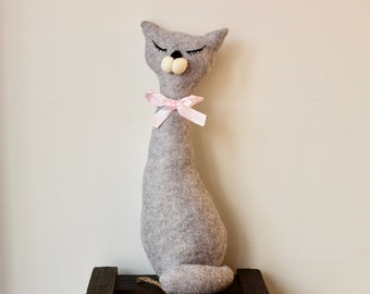 Grey Sleepy Cat, Cat lovers gift, Cat Decoration, Cat Fabric Statue, Grey Cat, Mothers Day gift, Cat lady gift
