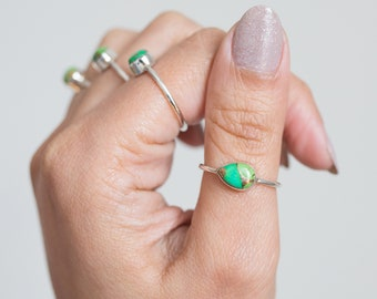 Green Turquoise Ring * Copper Turquoise * Green Copper * Green * Teardrop * Pear Turquoise * Bohemian * Minimalist * Dainty Rings * Delicate