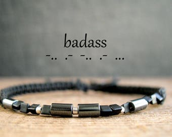 Morse code cool jewelry, inspiration jewelry, BADASS, hidden message bracelet, anniversary for man, friendship, birthday gift, sassy