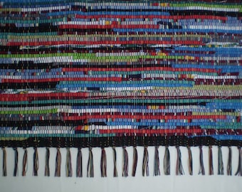 """Brightly Colored Rag Rug Runner/ 58"""" X 25"""""""