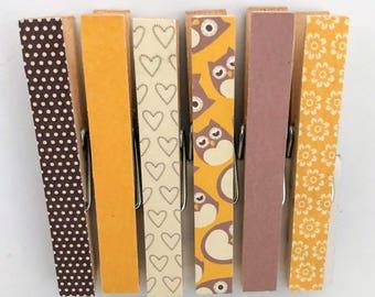 Mustard Owl Purple Heart Spot Peg Magnets - Woodland Fridge Magnet Set - Magnetic Clothespins Pegs