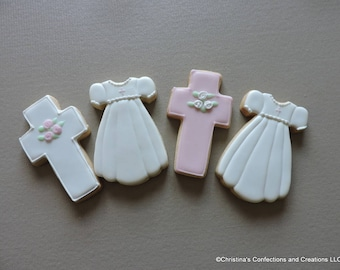 Baptism Communion Christening Dress and Cross Decorated Sugar cookies (#2271)