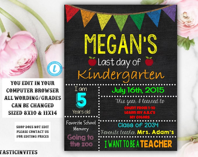 Last day of School Sign Chalkboard Template, Instant Download, Editable, Printable, Last Day of, Last Day, Any Grade, Chalkboard Sign, Edit