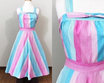 1940s Vintage Dress / 40s Sundress / Cotton / Striped / Pink and Blue