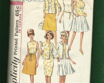 1965 Simplicity 5927 Mid Century Wardrobe Dress Top Pleated Skirt and Jacket Size 14