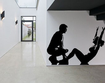 Wall Decal Sticker Bedroom work out gym fitness couple crossfit bodybuilding 187b