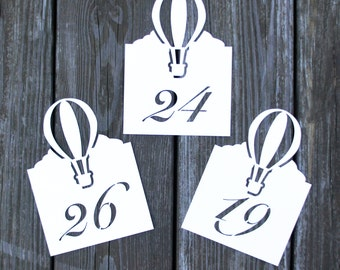 Hot Air Balloon Table Number Cards -Wedding Place Cards,Flat Table Numbers,up up away placecard,Escort Card,Rustic Wedding,Table Number Card