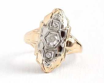 Diamond Shield Ring - Vintage 14k Yellow & White Gold Diamond Statement Fine Jewelry - Art Deco 1930s Size 5 1/2 Fine Filigree Embossed