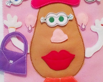 Mrs Potato head felt mat game educational game learning toy busy bags and quiet books Eco-Friendly felt game #111MAT