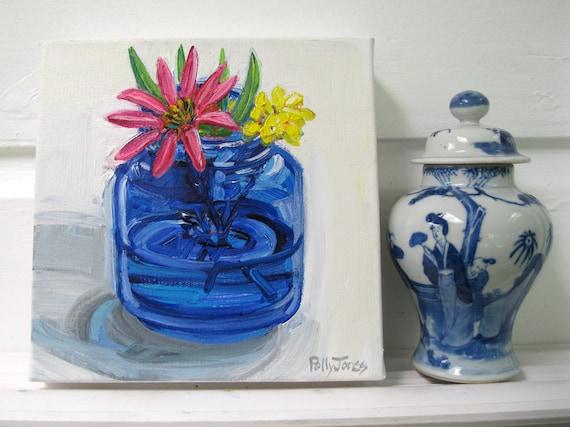 Coneflower in a Cobalt Jar orginal acrylic still life painting by Polly Jones