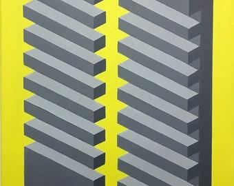 Original Framed Geometric Canvas Painting