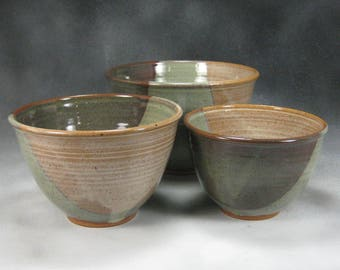 Bowl Yellow Green and Brown Nesting Bowl Set Ceramic Serving Bowl Hand Thrown Stoneware Pottery Bowl Set 5