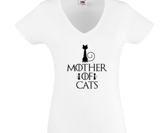 "White T-Shirt ""Mother of cats"", female choice: 23 colors of patterns, Game of Thrones, khaleesi, mother of dragons, GOT, daenerys"
