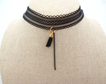 Black Lace Adjustable Choker_PP5220178/65420_ Necklace/Choker_ black gold finish_gift ideas