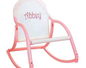 Pastel Personalized Childrens Rocking Chair - folds and is 100% watersafe -for kids to use wherever they want.