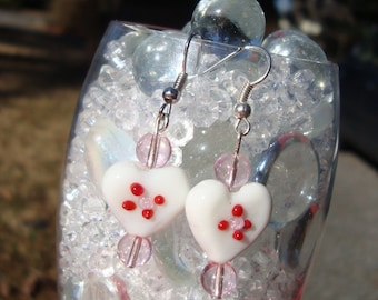 white glass lampwork heart earrings with red and pink accents - Valentine's Day