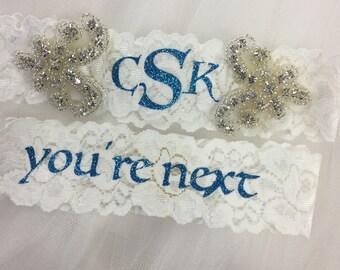 Wedding garter, monogrammed, you're next, personalized, something blue