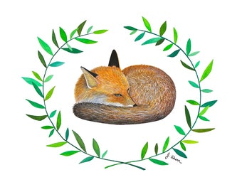 Watercolor fox painting, watercolor print of sleeping red fox with floral wreath, woodland animal, cute animal art, watercolor wall art
