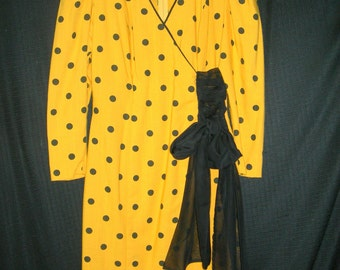 Retro 1980's Yellow & Black Polka Dot Dress-Size 10