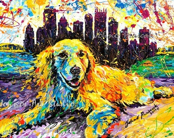 Pittsburgh Skyline Art, River, Golden Retriever Dog, Dog art, Pet painting, Print by Johno Prascak, Johnos Art Studio