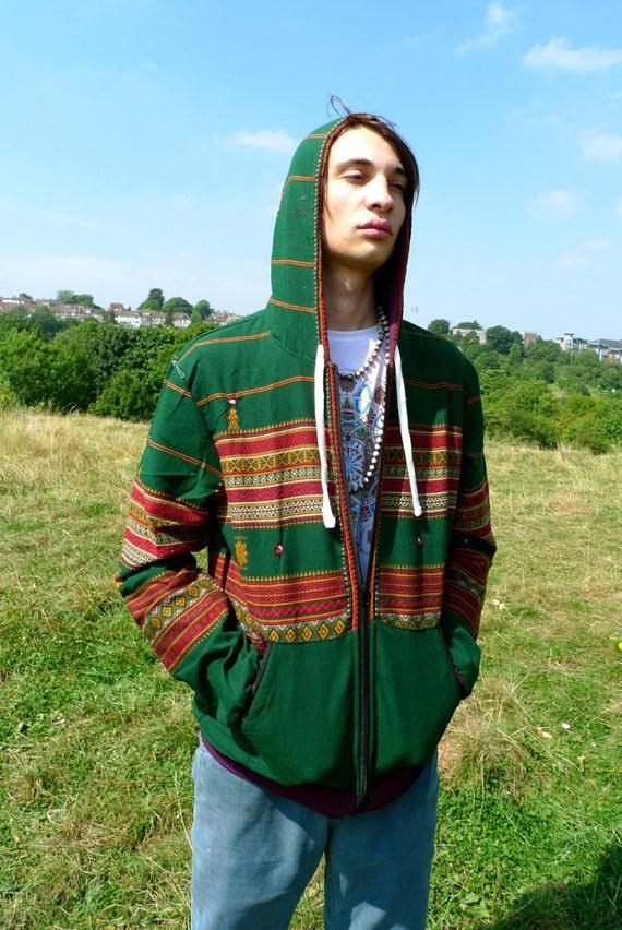JACKFRUIT Hula Hoodie - Blanket Black - Crazy Pattern Aztec Warm Tribal Hippy Boho Festival Fresh Prince Retro Psy Zip Pocket Hoody Jacket 37SCW1Wy2l
