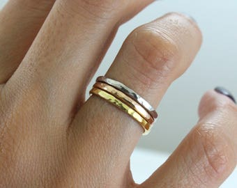 Stacking 14K Gold Plated Ring - Gold Hammered Ring - Main material Sterling Silver - Stackable Ring