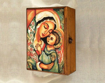 Madonna and Child Blessed Mother box, Virgin Mary and Jesus mother and son motherhood art christian box, jewelry box, 7x10