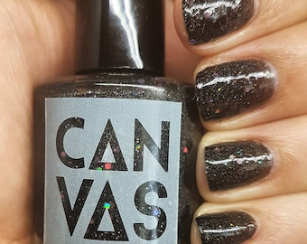 Black Magic by CANVAS lacquer - a black jelly bursting with pink holographic hexes and shimmer