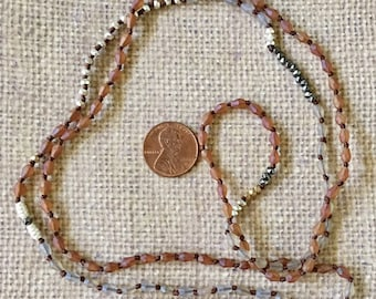 Necklace Knotted Boho Long Multi Colored Brown Tiny Bead Mix and Match Jewelry Supply